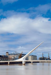 Santiago Calatrava's Puente de la Mujer was erected at Buenos Aires' Puerto Madero in 2001. Adding to the area's design development is Faena Hotel + Universe, a Philippe Starck–designed hotel, which opened in 2004.