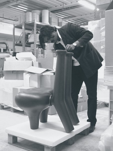 Pakhalé works on a chair model in his factory. He spends up to six months working on prototypes.