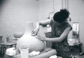 The prototypes for Satyendra Pakhalé pottery chairs are made using traditional throwing techniques, then the chairs themselves are made at a factory near Venice.