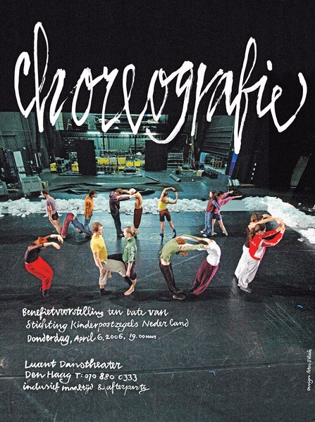 "Bil'ak designed the NDT Choreography Workshop poster using dancers to spell out ""workshop."""