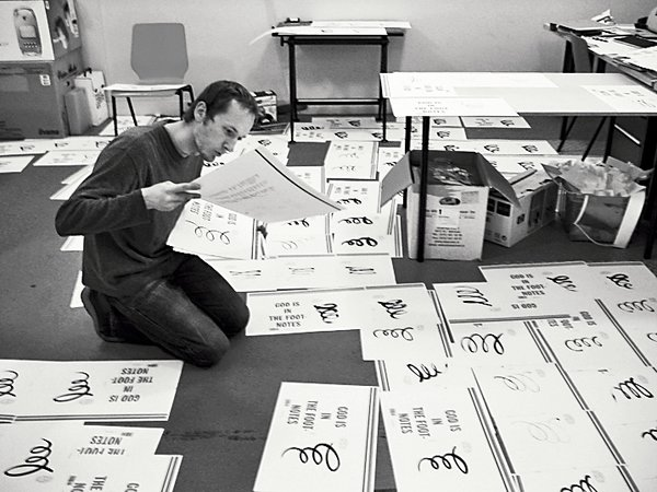 In Bil'ak's studio, he and his staff assemble and hand-draw the cover for issue #7.