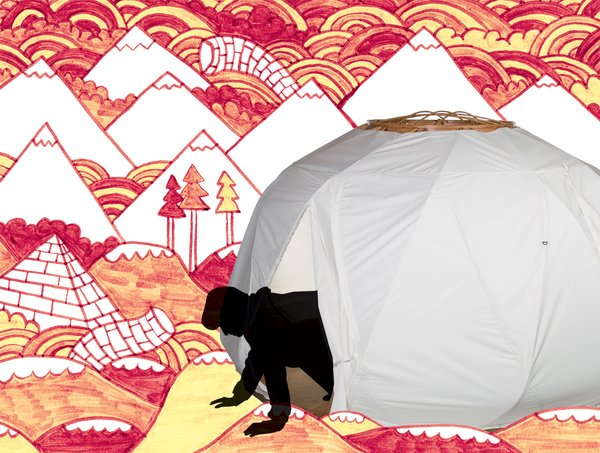 The Nomad is seven feet high, 12 feet wide, about 120 square feet, and rather suggestive of a glowing, space-age orb.