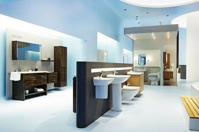 blue monday duravit showroom opens in nyc dwell. Black Bedroom Furniture Sets. Home Design Ideas