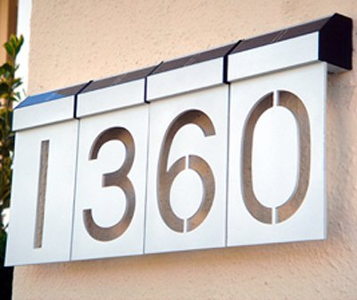 "LED Solar Numbers   By Matterinc  $20 each, 6.375"" H x 3.5"" W, silver or black anodized aluminum"