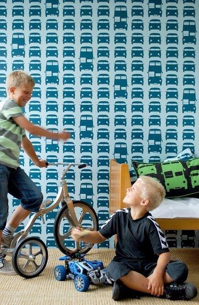ferm LIVING's Rush Hour washable wallpaper pattern.