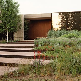 Lutsko Associates chose to integrate stepped terraces into the landscape design of this Ketchum, Idaho home.