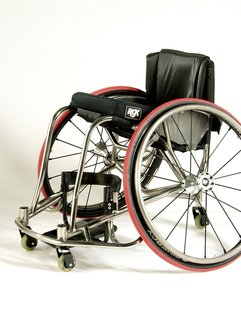 The Interceptor Wheelchair by RGK is made for use in rugby, basketball and other high contact sports.