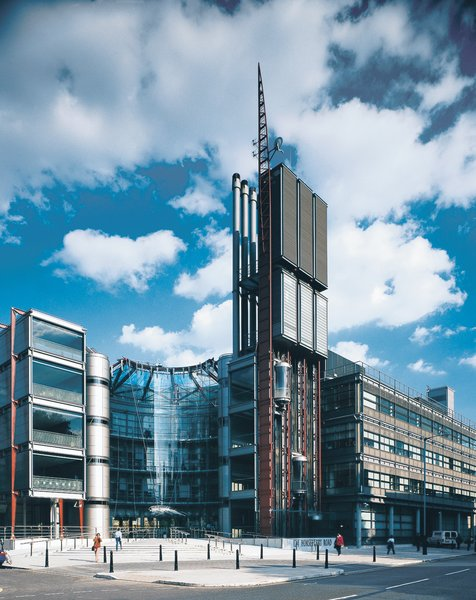 The headquarters for Channel 4, completed in 1994 in the borough of Westminster, is a particularly accessible example of Rogers Stirk Harbour + Partners' machinic sensibilities.