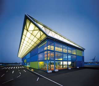 Werner Sobek - Photo 8 of 22 - Until 2010, the Hamburg Cruise Center will be used for registration and baggage check-in of cruise passengers. The roof structure is encased in translucent panels that are illuminated from within.