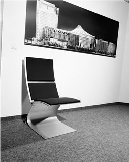 Werner Sobek - Photo 19 of 22 - An early iteration of Sobek's Airport Chair sits in the office.