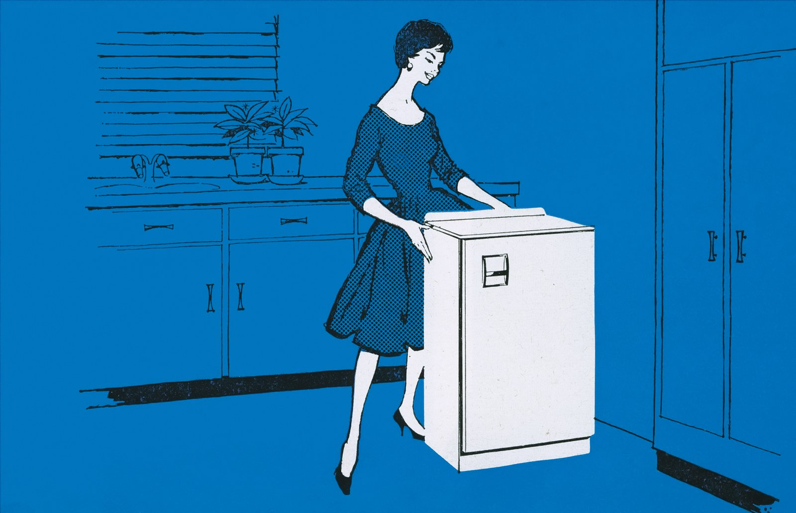 A 1950s illustrated advertisement for the Morphy Richards Astral refrigerator.  Photo 4 of 7 in An Introduction to Kitchen Design