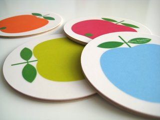 Set of four coasters, mixed apples, by Lotta Kühlhorn