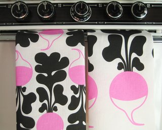 From Stockholm, With Love - Photo 1 of 11 - Set of two kitchen tea towels, radish pattern, by Lotta Kühlhorn