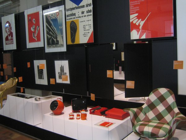 Assorted objects and posters from the Everything Design exhibit at Museum of Design Zurich.