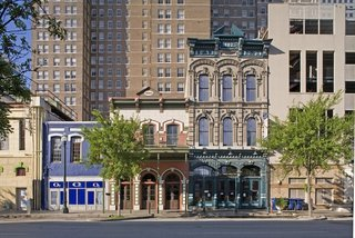 The streets of Houston's downtown historic district are lined with examples of 19th-Century architecture. Image courtesy of the Greater Houston Convention and Visitors Bureau.