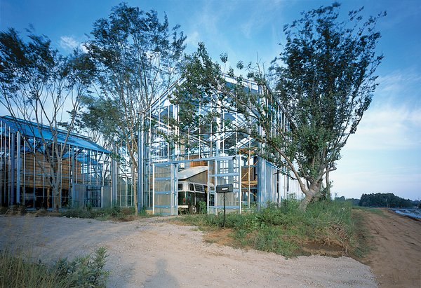 """Architect Hiroshi Iguchi's sustainable solution was to surround the greenhouses with tall, deciduous trees. In the summer, the """"breathing"""" of the trees' leaves and the shadows they cast over the homes help cool the spaces. To combat moisture from the humidity, residents can open the top windows of the glass spaces."""