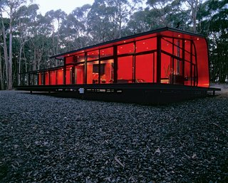Black, Red, and Green All Over - Photo 1 of 3 - With this curvy, glowing form, architect Jesse Judd has rendered the sometimes-harsh Australian bush habitable for his friends and family.