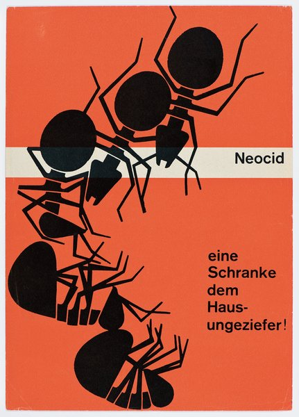 """Neocid was another pesticide Geigy sold. Karl Gerstner's poster is from 1953 and tells customers that Neocid is """"A gate for house pests!"""""""
