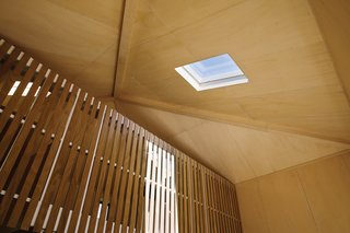 The living area gains further sun from a skylight in the high pyramid-shaped roof.