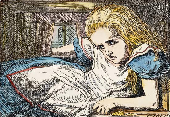 """CARROLL: ALICE, 1865. Alice grows out of the room: after the design by Sir John Tenniel for the first edition of Lewis Carroll's """"Alice's Adventures in Wonderland""""."""