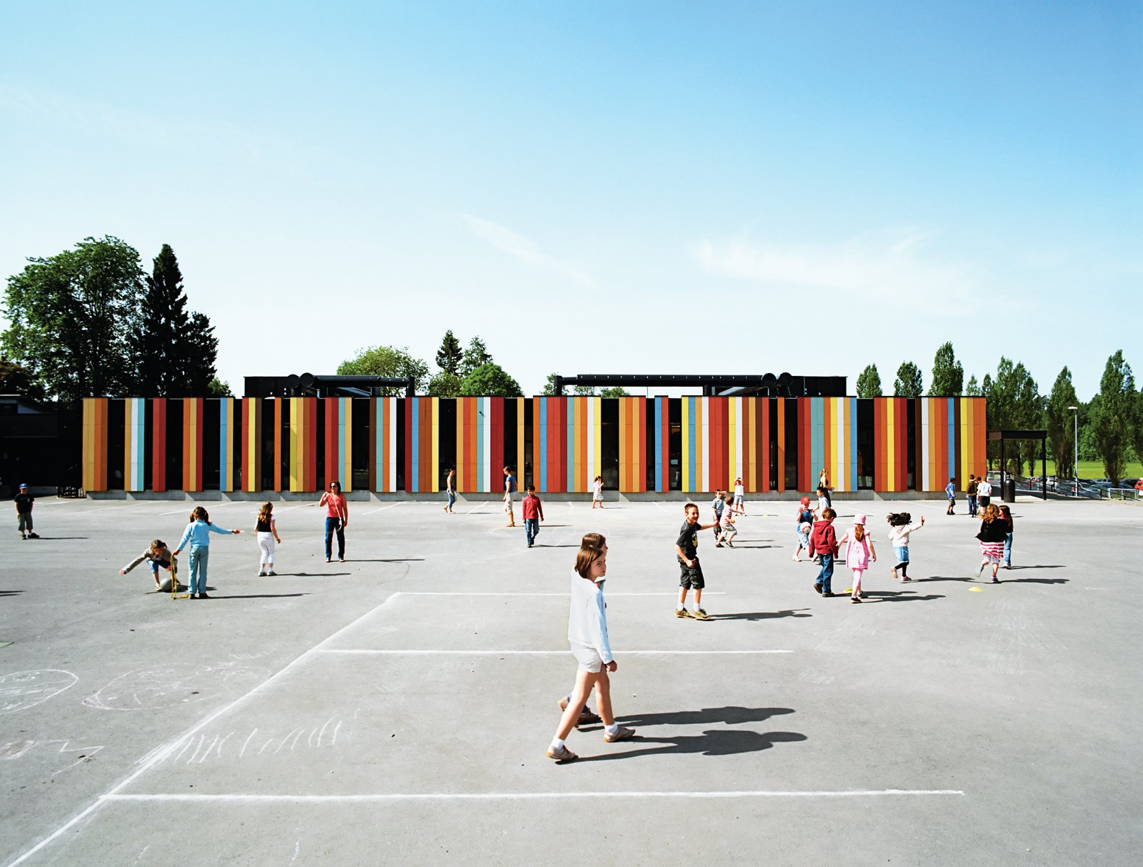 At nearly 80,000 square feet, the Oslo International School is one of Jarmund/Vigsnæs's larger projects. Situated just outside Oslo, the school was recently renovated, with some 40,000 square feet of new construction. The colored panels suggest a sunny optimism, something the architects hoped to imbue in an educational context.