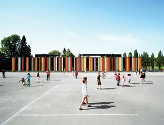 At nearly 80,000 square feet, the Oslo International School is one of Jarmund/Vigsnæs's larger projects. Situated just outside Oslo, the school was recently renovated, with some 40,000 square feet of new construction. The colored panels suggest a sunny optimism, something the architects hoped to imbue in an educational context. Photo by Ivan Brodey.