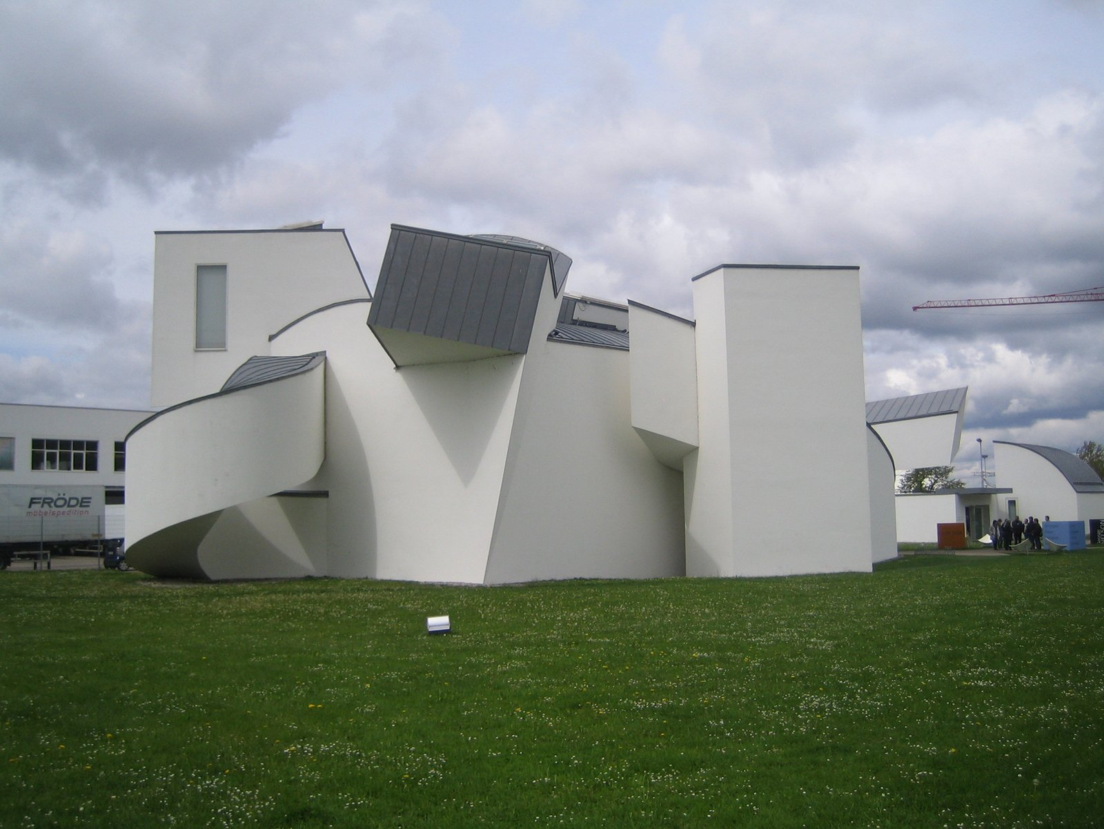 This is the Design Museum by Gehry viewed from behind. It was his first building outside the US.  Touring the Vitra Campus  by Aaron Britt