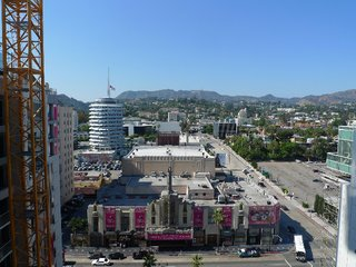 The north view from the 14th-floor unit. Capitol Records is to the left, and the Hollywood sign is at dead center.