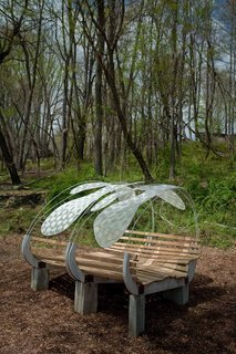 Firefly by Rashida Ng and Nami Yamamoto<br><br>This bedlike bench invites visitors to relax and enjoy the sky above.<br><br>Photo by Jack Ramsdale. Courtesy of  the Schuylkill Center for Environmental Education.