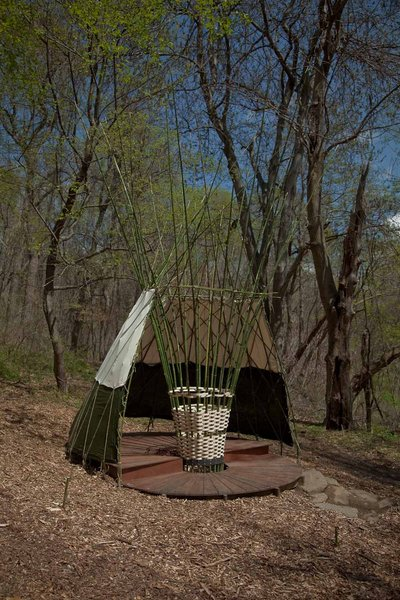 Woodland Canopy by FORM Design Collaborative<br><br>This basket-woven teepeelike structure of bamboo and hemp rope is partially covered by a waterproofed hemp canvas and constructed of locally obtained, FSC-certified or reclaimed lumber.<br><br>Photo by Jack Ramsdale. Courtesy of  the Schuylkill Center for Environmental Education.