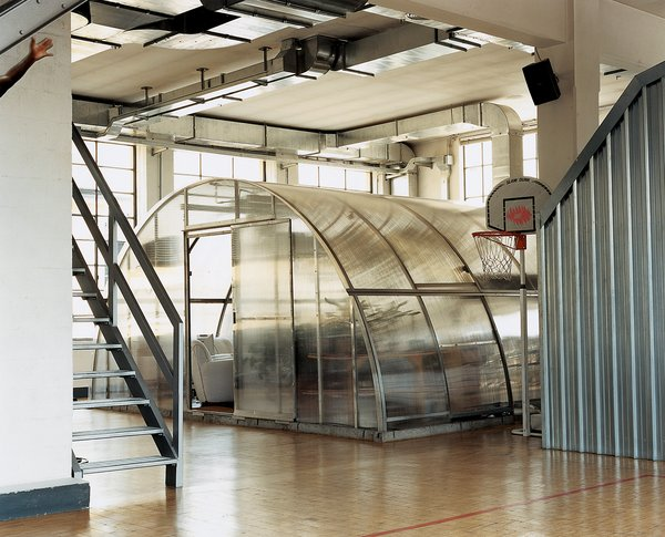 """Why put the bathroom/office inside a greenhouse? """"I just liked the shape,"""" Boglione says. """"But you should have seen the guy's reaction when I told him to deliver it to the second floor."""""""