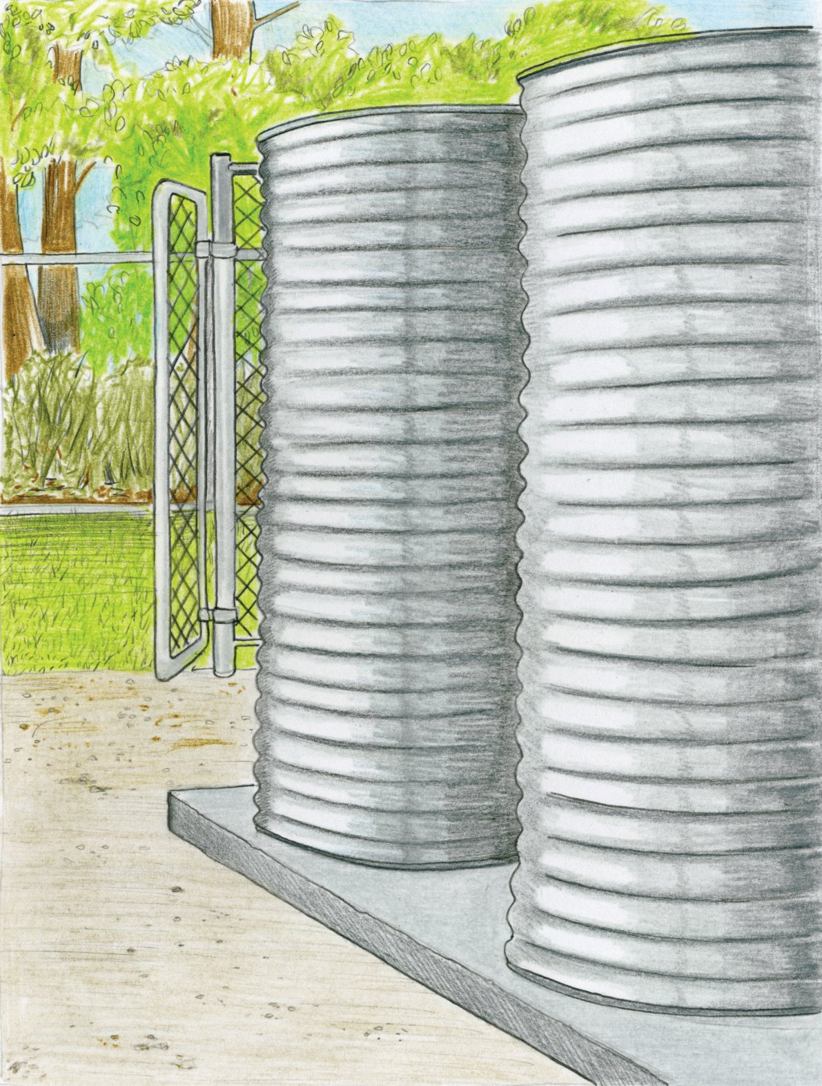 With serious water restrictions in drought-stricken Australia, Ferguson needed these tanks so that the new bush garden surrounding her house would flourish. Filled with rainwater draining off the roof and snugly set intothe south side of the house, her two 1,300-gallon Bluescope tanks also service the toilets and outdoor shower.