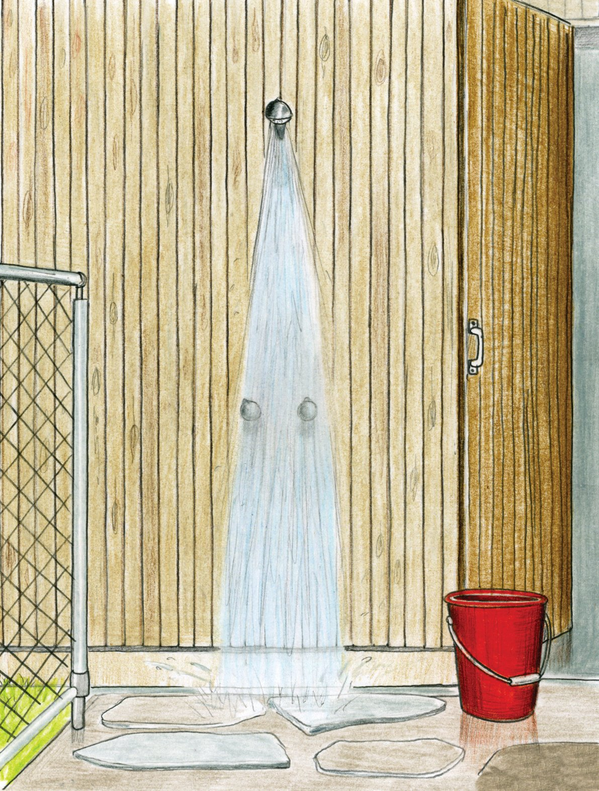 The outdoor shower greets everyone returning from the beach. Ferguson, well versed in the behavior of teenagers, didn't want them running inside with sandy feet, so a stop under the fresh rainwater shower from Enware is mandatory after a morning in the surf.  Photo 10 of 10 in Pedigree Charted