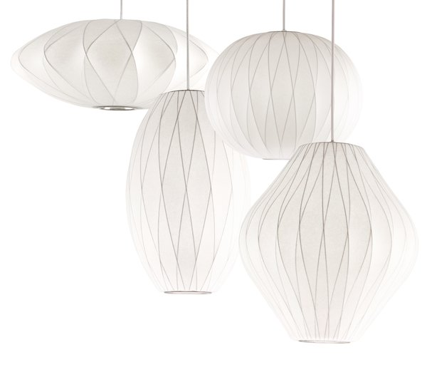 George Nelson Criss Cross Bubble Lamps: Criss Cross Saucer, Criss Cross Cigar, Criss Cross Ball, and Criss Cross Pear.