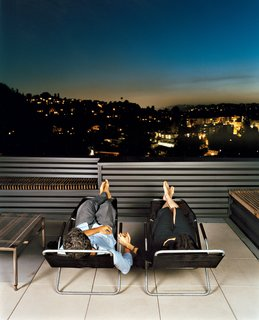 Way Out West - Photo 2 of 12 - Joe Day and Nina Hachigian relax on their terrace overlooking the hills in Silver Lake area of Los Angeles.