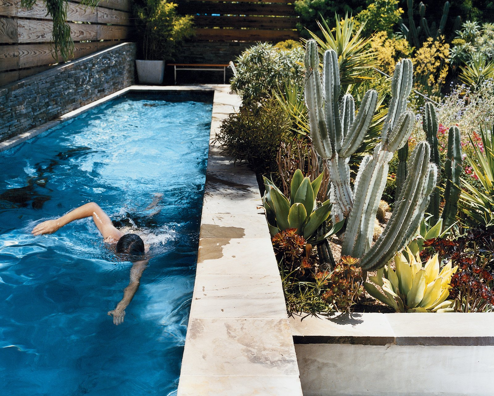 Day takes a swim in a new lap pool framed by a lush Southern California garden. The lower wall next to the pool is made from stacked Pennsylvania bluestone, which was used for all exterior stone as well.