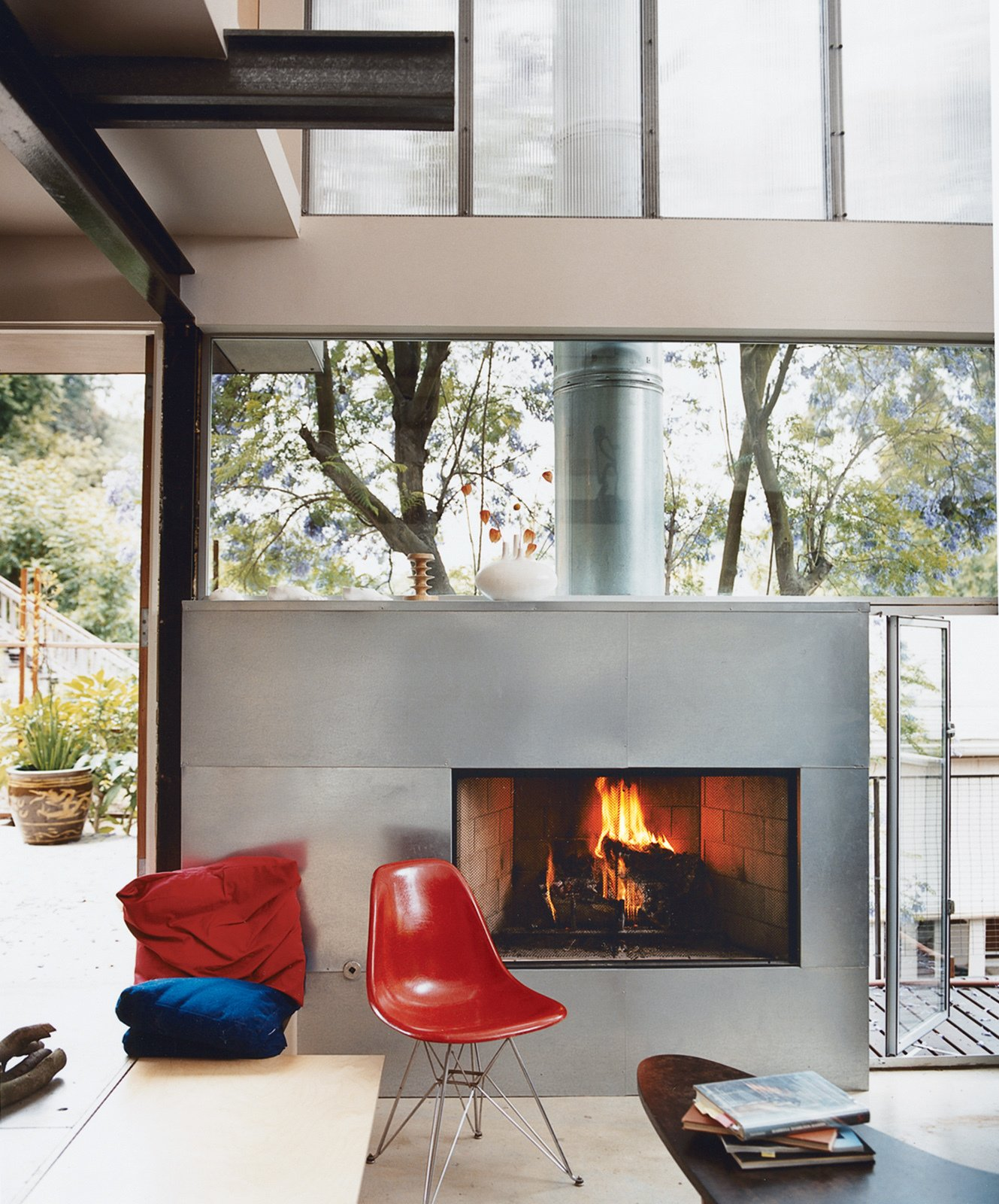 Galvanized steel was used to clad the fireplace.