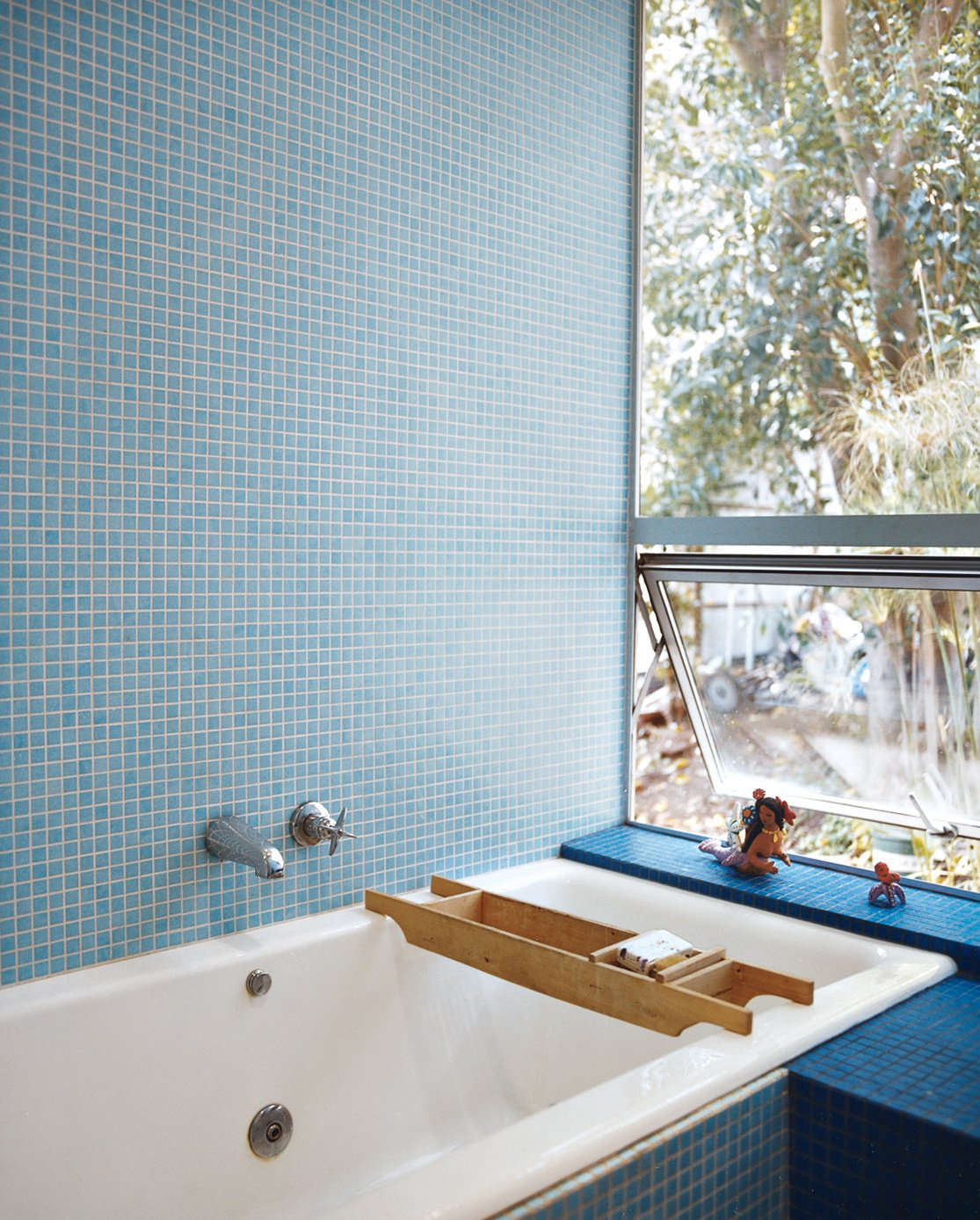 The tile is by Carter. Tagged: Bath Room, Mosaic Tile Wall, and Drop In Tub.  Photo 8 of 9 in How This Couple Broke The Rules in a LA Suburb