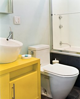 Beantown Dream - Photo 3 of 11 - To save money and time, the architects used similar designs for the bathrooms<br>in both their and Andy's apartment: Philippe Starck toilets, fixtures from New York's AF Supply, and custom cabinets painted with watertight auto-body paint.