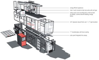 """CLA uses the proliferating idea of modified shipping containers, but builds upon and augments the standard 40' x 8' x 8'-6"""" for modular emergency housing. Pre-assembled sliding technology from the RV industry maximizes unit size and flexibility"""