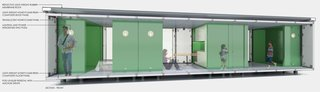 The basic unit can be modified to become a studio or larger family unit and can be stacked up to four stories, and is powered by a 4kiloWatt Residential Fuel Cell.