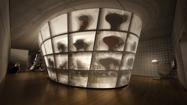 Rendering of the Ron Arad: No Discipline exhibition, featuring Cage sans Frontières (Cage without Borders)<br><br>Photo courtesy of <br><br>Ron Arad Associates and the Museum of Modern Art