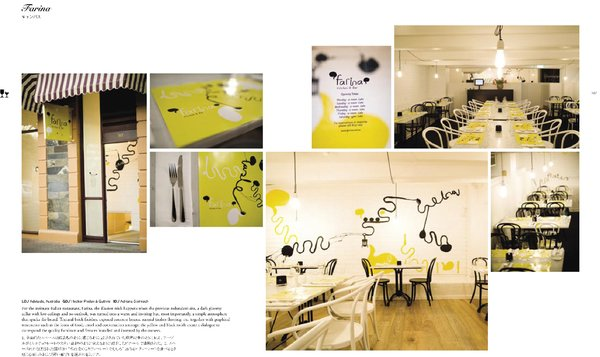 Spread from Design Taste: Farina kitchen and bar in Adelaide, Australia. Graphic design by Hecker Phelan & Guthrie. Interior design by Adriana Stelmach.