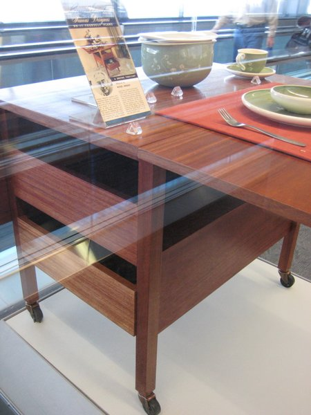 Museum staff at SFO put together this dining cart based on the specifications from the original DIY guide by Russel Wright, written for people to be able to fabricate their own furniture at home.
