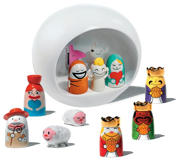 Nativity collection by LPWK and Massimo Giacon for A Di Alessi.<br><br>If you're inclined to do a little holiday decorating around the home, this small ceramic Nativity scene is pretty cute. Check out those sheep!