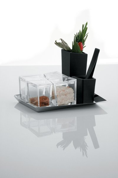 Cum Grano Salis salt set, by Giovanni Alessi Anghini, Fabio Fassone, and Lorenzo Piccione di Pianogrillo for Alessi.<br><br>A modern salt cellar that makes room for four varieties of the ancient spice, along with a mortar and pestle for mixing.