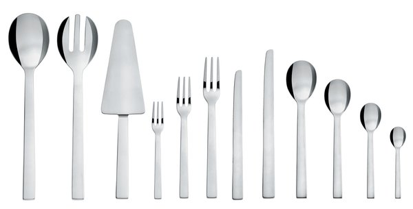 Santiago cutlery, by David Chipperfield for Alessi.<br><br>English architect and designer David Chipperfield's Santiago cutlery has clean lines that would complement any modern kitchen.