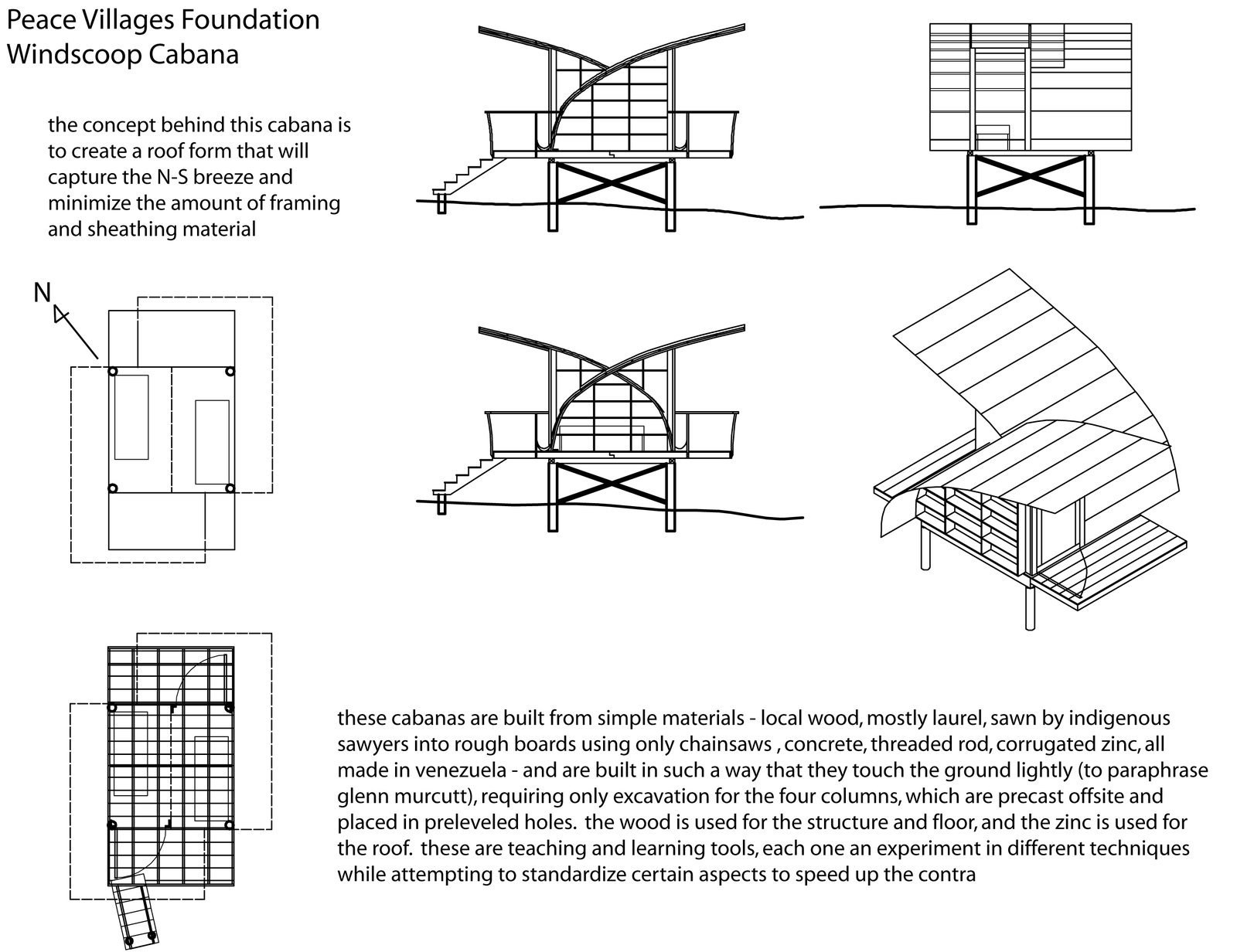 Drawings of the Windcatcher demonstrate the criss-crossing roofline and the alignment of the main shelter components.  Photo 8 of 13 in Venezuela's Eco Cabanas