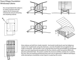 Venezuela's Eco Cabanas - Photo 8 of 13 - Drawings of the Windcatcher demonstrate the criss-crossing roofline and the alignment of the main shelter components.