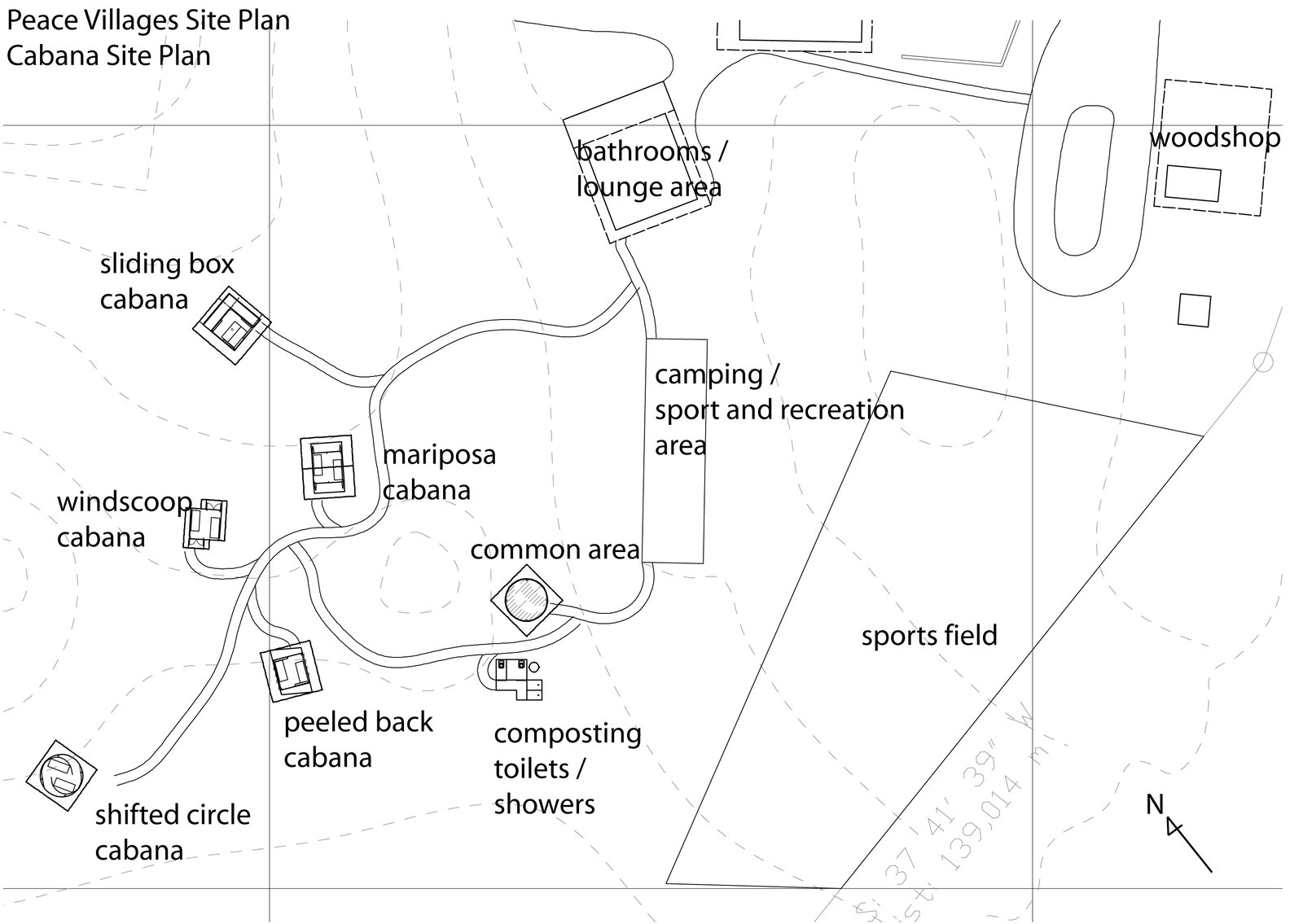 A site plan for the Peace Villages shows the placement of the cabanas and various other amenities and community areas. Venezuela's Eco Cabanas - Photo 11 of 13